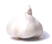 "Garlic has long been credited with providing and prolonging physical strength and was fed to Egyptian slaves building the giant pyramids. Throughout the centuries, its medicinal claims have included cures for toothaches, consumption, open wounds and evil demons. A member of the lily family, garlic is a cousin to leeks, chives, onions and shallots. The edible bulb or ""head"" grows beneath the ground. This bulb is made up of sections called cloves, each encased in its own parchmentlike membrane. Today's major garlic suppliers include the United States (mainly California, Texas and Louisiana), France, Spain, Italy and Mexico. There are three major types of garlic available in the United States: the white-skinned, strongly flavored American garlic; the Mexican and Italian garlic, both of which have mauve-colored skins and a somewhat milder flavor; and the Paul Bunyanesque, white-skinned elephant garlic (which is not a true garlic, but a relative of the leek), the most mildly flavored of the three. Depending on the variety, cloves of American, Mexican and Italian garlic can range from 1/2 to 1 1/2 inches in length. Elephant garlic (grown mainly in California) has bulbs the size of a small grapefruit, with huge cloves averaging 1 ounce each. It can be purchased through mail order and in some gourmet markets. Green garlic, available occasionally in specialty produce markets, is young garlic before it begins to form cloves. It resembles a baby leek, with a long green top and white bulb, sometimes tinged with pink. The flavor of a baby plant is much softer than that of mature garlic. Fresh garlic is available year-round. Purchase firm, plump bulbs with dry skins. Avoid heads with soft or shriveled cloves, and those stored in the refrigerated section of the produce department. Store fresh garlic in an open container (away from other foods) in a cool, dark place. Properly stored, unbroken bulbs can be kept up to 8 weeks, though they will begin to dry out toward the end of that time. Once broken from the bulb, individual cloves will keep from 3 to 10 days. Garlic is usually peeled before use in recipes. Among the exceptions are roasted garlic bulbs and the famous dish, ""chicken with 40 cloves of garlic,"" in which unpeeled garlic cloves are baked with chicken in a broth until they become sweet and butter-soft. Crushing, chopping, pressing or pureeing garlic releases more of its essential oils and provides a sharper, more assertive flavor than slicing or leaving it whole. Garlic is readily available in forms other than fresh. Dehydrated garlic flakes (sometimes referred to as instant garlic) are slices or bits of garlic that must be reconstituted before using (unless added to a liquid-based dish, such as soup or stew). When dehydrated garlic flakes are ground, the result is garlic powder. Garlic salt is garlic powder blended with salt and a moisture-absorbing agent. Garlic extract and garlic juice are derived from pressed garlic cloves. Though all of these products are convenient, they're a poor flavor substitute for the less expensive, readily available and easy-to-store fresh garlic. One unfortunate side effect of garlic is that, because its essential oils permeate the lung tissue, it remains with the body long after it's been consumed, affecting breath and even skin odor. Chewing chlorophyll tablets or fresh parsley is helpful but, unfortunately, modern-day science has yet to find the perfect antidote for residual garlic odor."